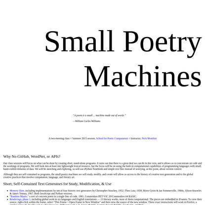 Small Poetry Machines