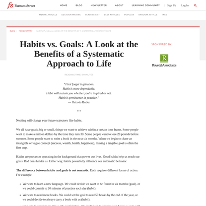 Habits vs. Goals: A Look at the Benefits of a Systematic Approach to Life