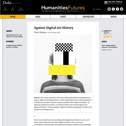 Against Digital Art History - Franklin Humanities Institute