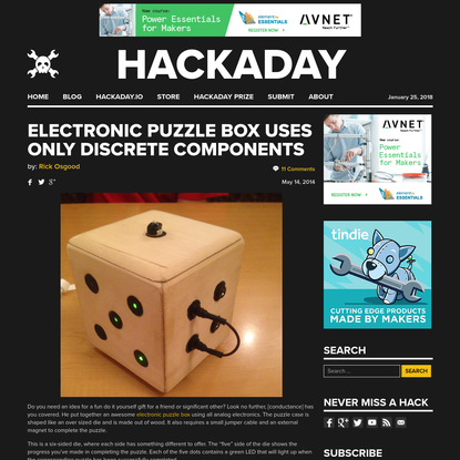 Electronic Puzzle Box Uses Only Discrete Components