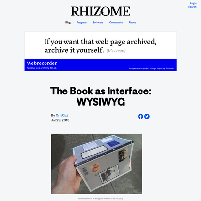 The Book as Interface: WYSIWYG
