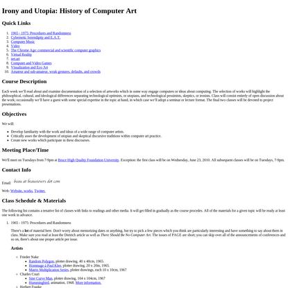 BHQFU - Irony and Utopia: History of Computer Art
