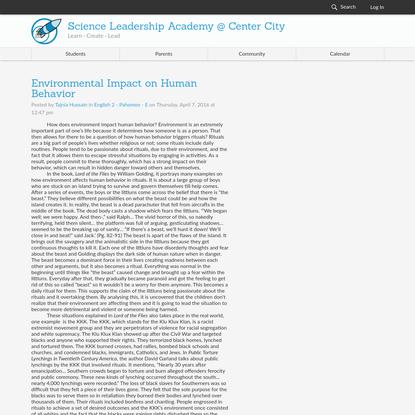 Environmental Impact on Human Behavior