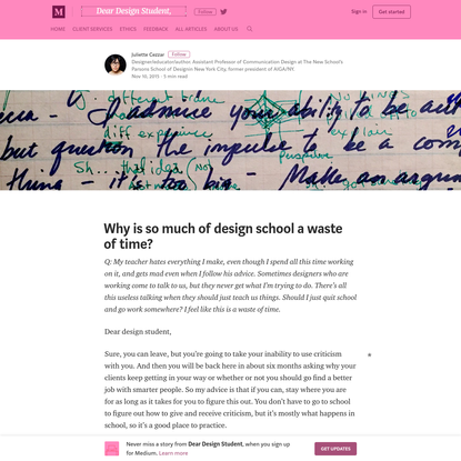Why is so much of design school a waste of time? - Dear Design Student