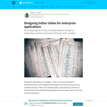 Designing better tables for enterprise applications