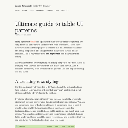 Ultimate guide to table UI patterns