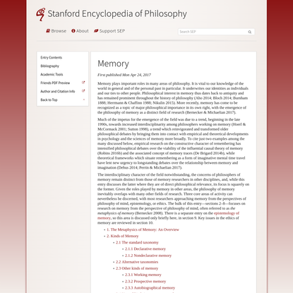 Memory (Stanford Encyclopedia of Philosophy)