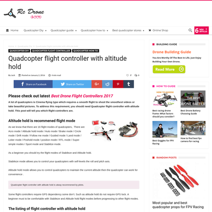 Quadcopter flight controller with altitude hold