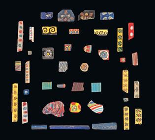 Egyptian mosaic glass bars and inlay fragments, 200BC - 200AD