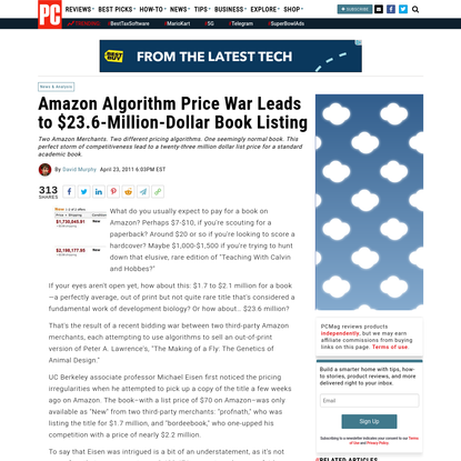 Amazon Algorithm Price War Leads to $23.6-Million-Dollar Book Listing