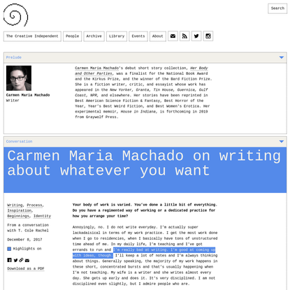 Carmen Maria Machado on Writing About Whatever You Want