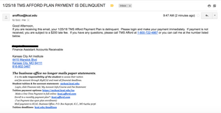 TMS AFFORD PLAN PAYMENT IS DELINQUENT
