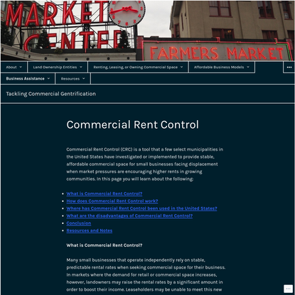 Commercial Rent Control