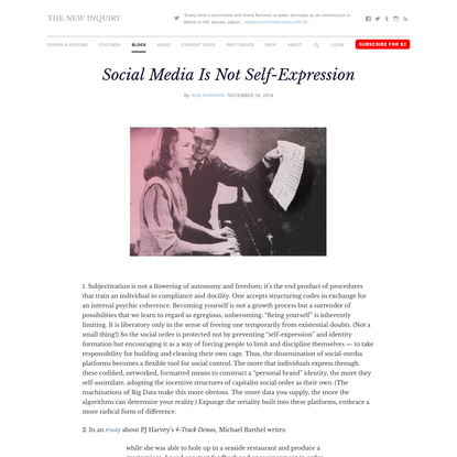 Social Media Is Not Self-Expression