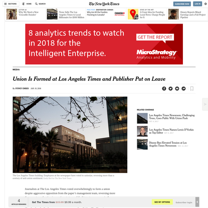 Union Is Formed at Los Angeles Times and Publisher Put on Leave