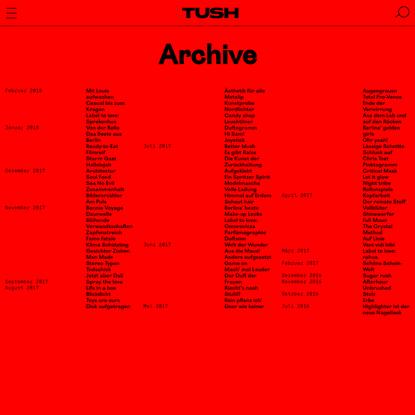 "TUSH Magazine "" Archive"