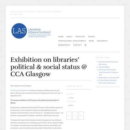 Exhibition on libraries' political & social status @ CCA Glasgow