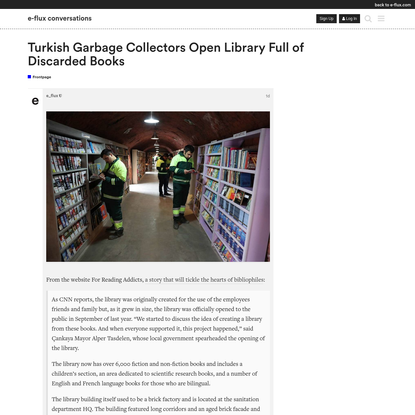 Turkish Garbage Collectors Open Library Full of Discarded Books