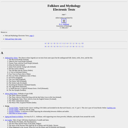 Folktexts: A library of folktales, folklore, fairy tales, and mythology, page 1