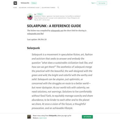 SOLARPUNK : A REFERENCE GUIDE - Solarpunks - Medium