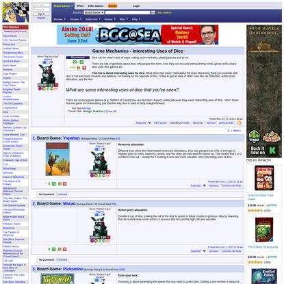 Game Mechanics - Interesting Uses of Dice   BoardGameGeek
