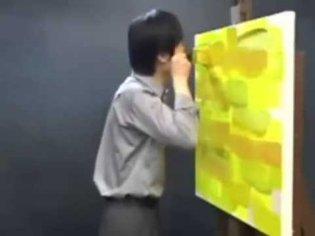 man screams at yellow paint