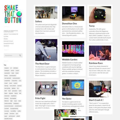 Shake That Button - Alternative controllers, video game installations and playful performances