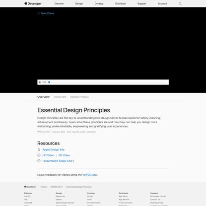 Essential Design Principles - WWDC 2017 - Videos - Apple Developer