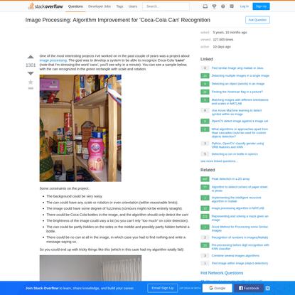 Image Processing: Algorithm Improvement for 'Coca-Cola Can' Recognition