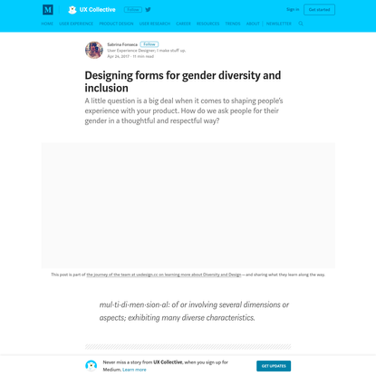 Designing forms for gender diversity and inclusion - UX Collective