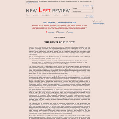 David Harvey: The Right to the City. New Left Review 53, September-October 2008.