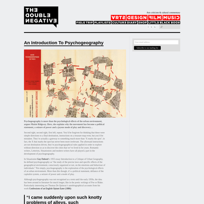 """The Double Negative """" An Introduction To Psychogeography"""