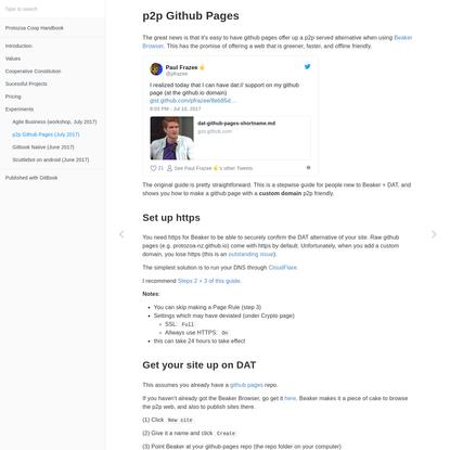 p2p Github Pages (July 2017) · Protozoa Coop Handbook