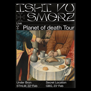 OK, only 1 week 'til this! Stockholm on thursday, GBG on friday. @ishi____vu and @smerz_ on both. Double treat. 🍒 Bio and DM for event links. Festive art by @jacob.j.wise Thanks to @nudiejeans for making possible #planetofdeath #underbron #ishivu #nudie