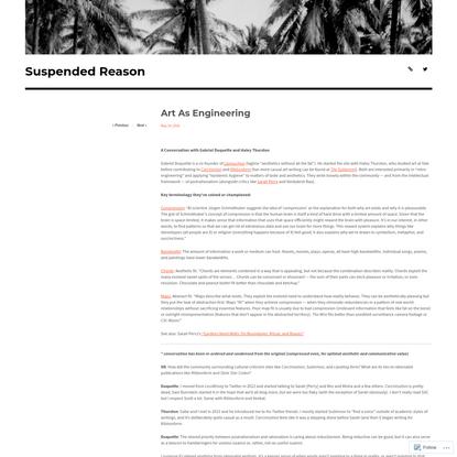 Reason/Duquette/Thurston: Art As Engineering