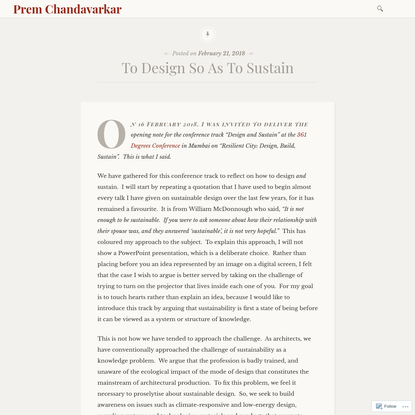 To Design So As To Sustain