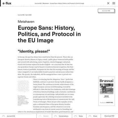 Europe Sans: History, Politics, and Protocol in the EU Image