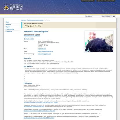 UWA Staff Profile : The University of Western Australia : The University of Western Australia
