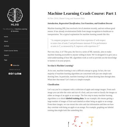 Machine Learning Crash Course: Part 1