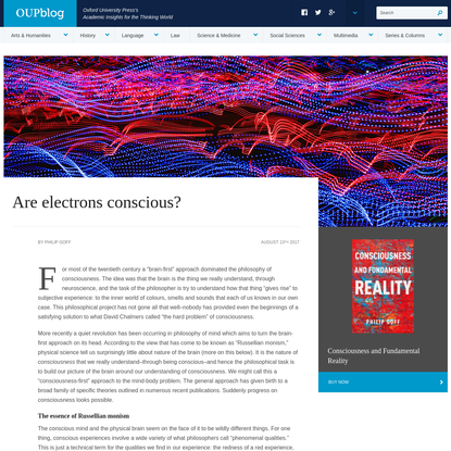Are electrons conscious?   OUPblog