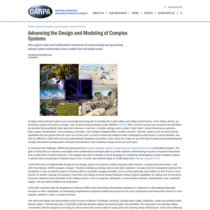 Advancing the Design and Modeling of Complex Systems