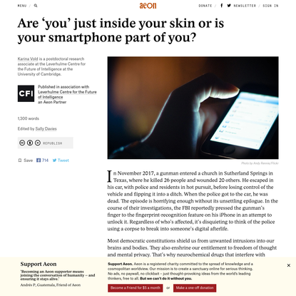 Are 'you' just inside your skin or is your smartphone part of you? - Karina Vold | Aeon Ideas