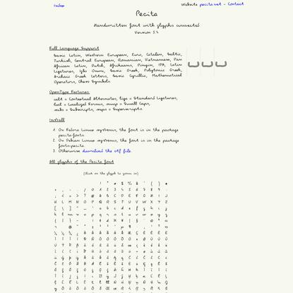 The handwritten font Pecita