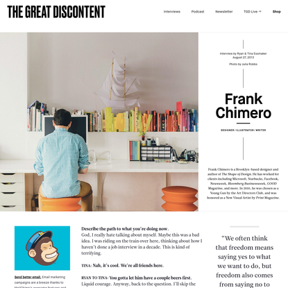 Frank Chimero on The Great Discontent (TGD)