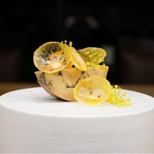 Foie gras, golden kiwi, and kumquat by @roguela 📷: @alanlatourelle #TheArtOfPlating
