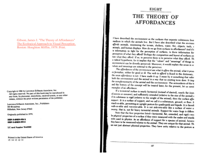 Theory of Affordances by James Gibson