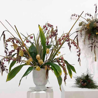 """Kapwani Kiwanga's """"Flowers for Africa"""" works 2014-2017. Recreations of Arrangements that decorated ceremonies that granted African countries their independence from colonial rule."""