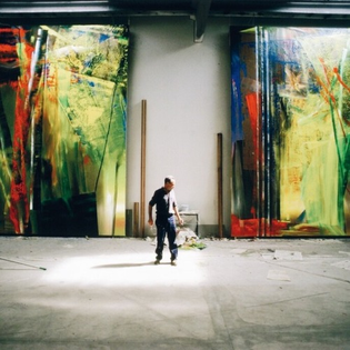 Gerhard Richter in his studio