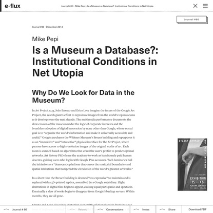 Is a Museum a Database?: Institutional Conditions in Net Utopia