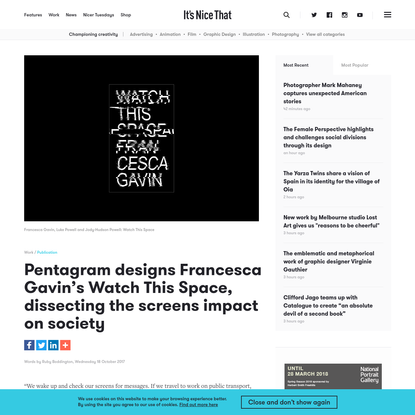 Pentagram designs Francesca Gavin's Watch This Space, dissecting the screens impact on society